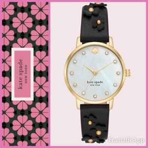 🆕🖤Kate Spade NY Metro Floral Black Leather Watch